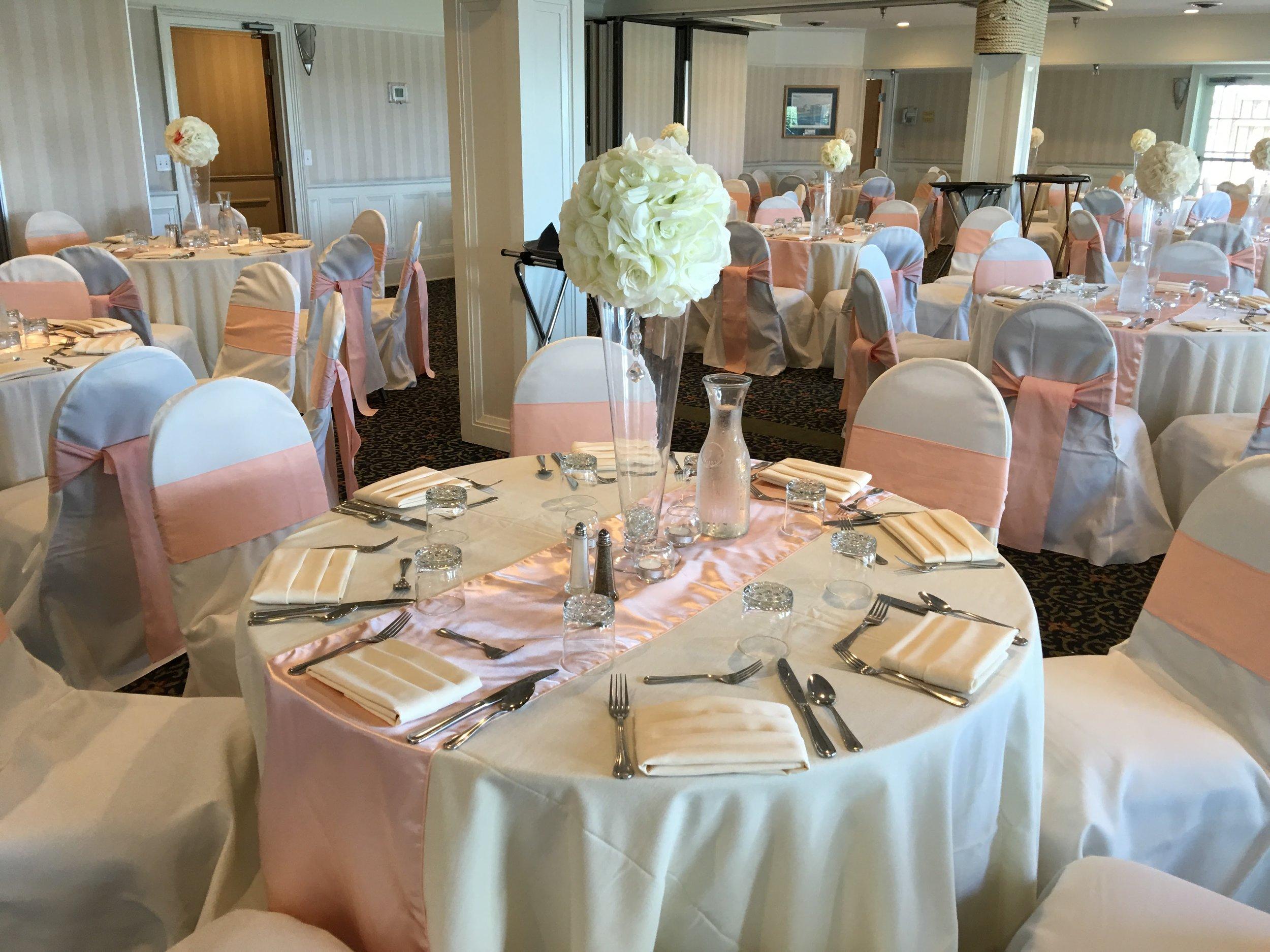 White Crisp Banquet Decor & Setup