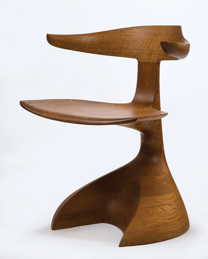 From the Popular Woodworking Magazine Blog:   Early stacked piece. This early armchair from 1967 is made of solid oak stacked and laminated in what would become a common Castle technique.