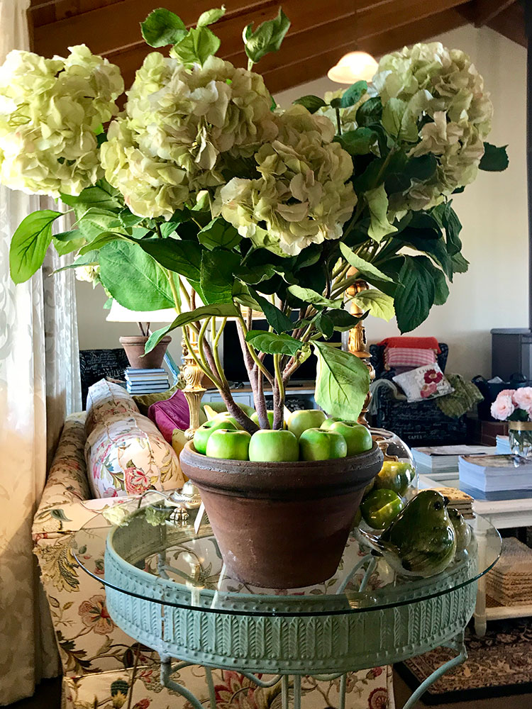Pops of green have long been my favourite way of decorating, and these faux hydrangeas are a favourite. They reflect the botanical theme I find so fresh and uplifting.