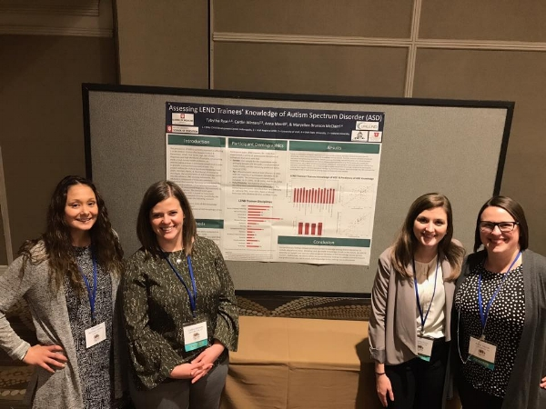URLEND and Riley Hospital for Children LEND trainees and Dr. McClain Verdoes at their AUCD poster presentation.