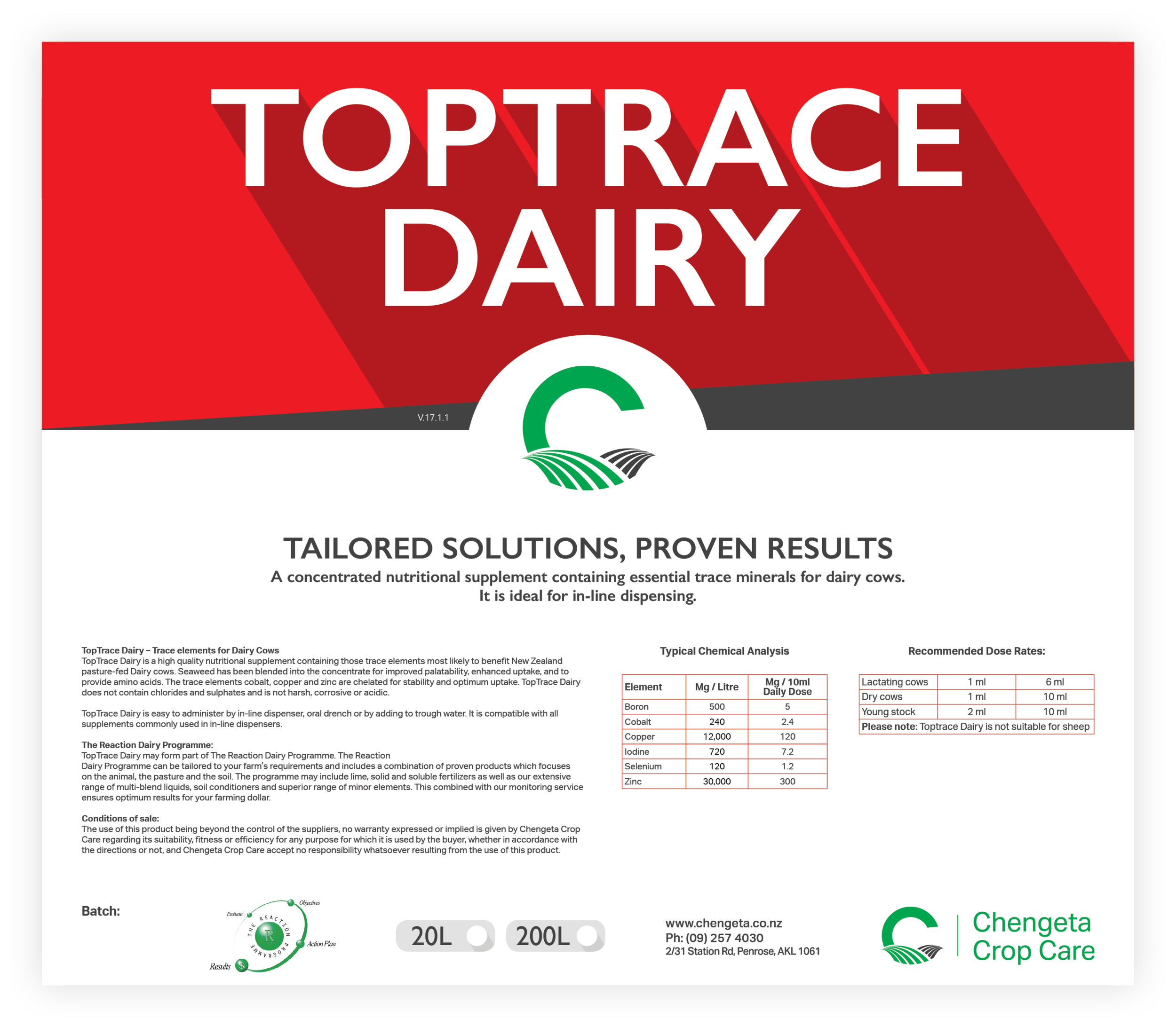 Toptrace Dairy Label