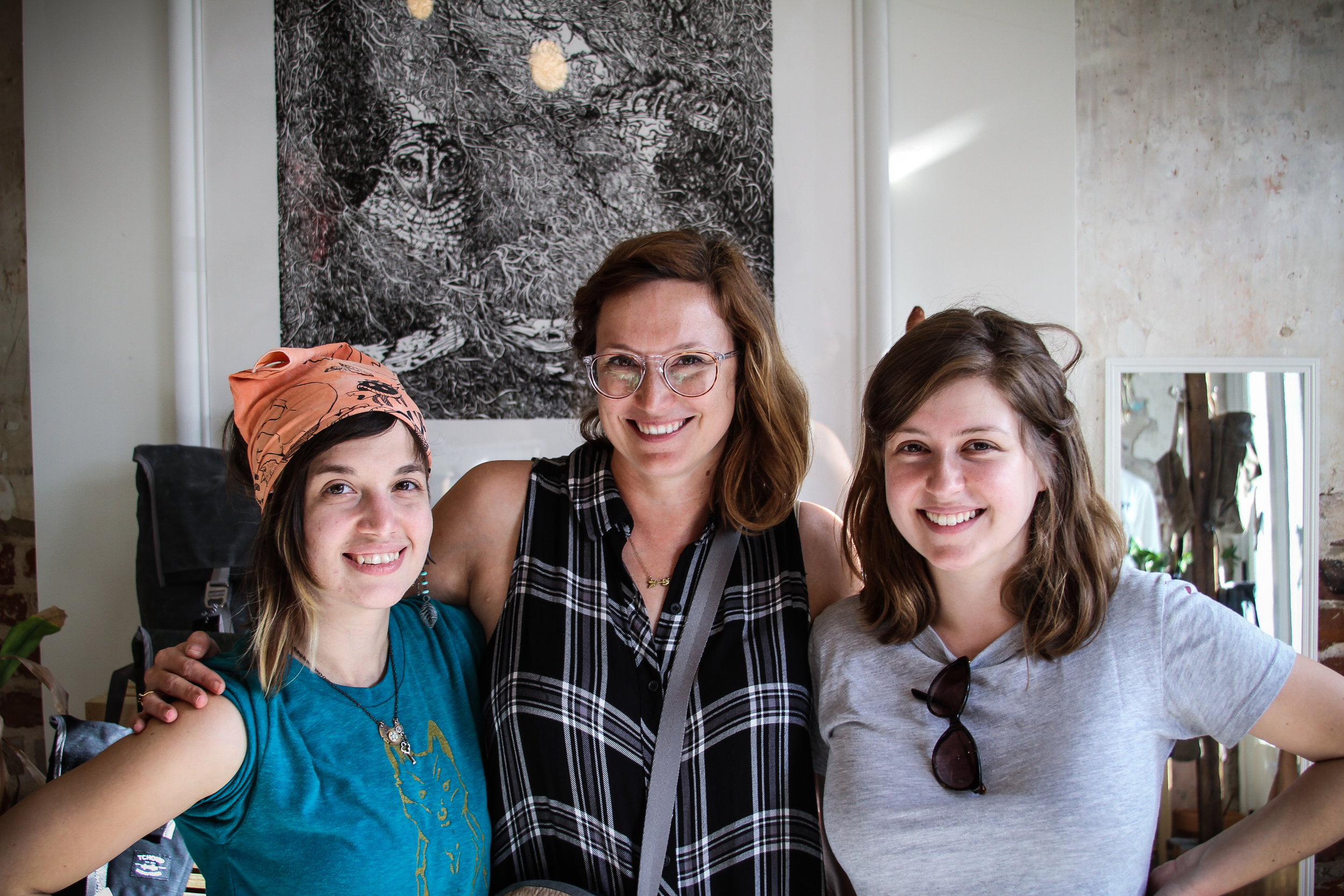 Tchoup seamstress Ursa Eyer (left) and New Orleans textile designer Abby Wetsman (right), with Tchoup founder and designer Patti Dunn.