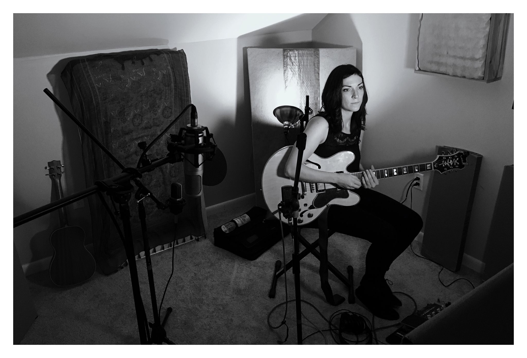 """Julie recording """"Cardinal Feather"""" for Sickbay Singles Club."""