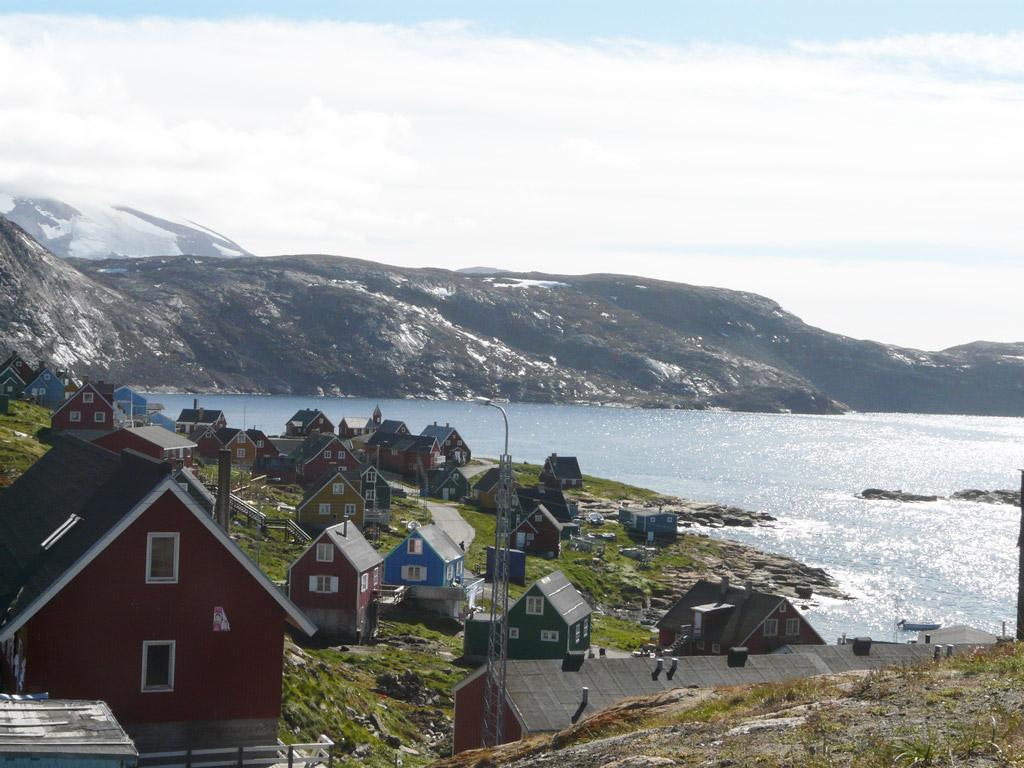 Upernavik glistening after rainfall, overlooking Baffin Bay