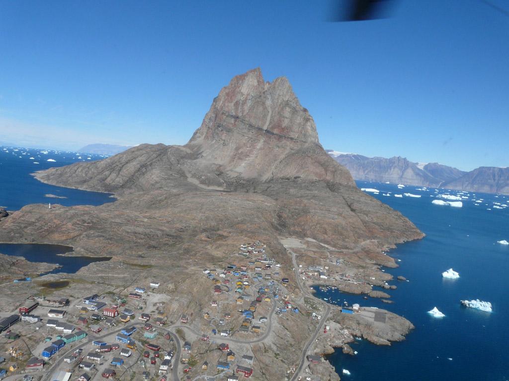 Uummannaq island is dominated by its namesake heart-shaped mountain