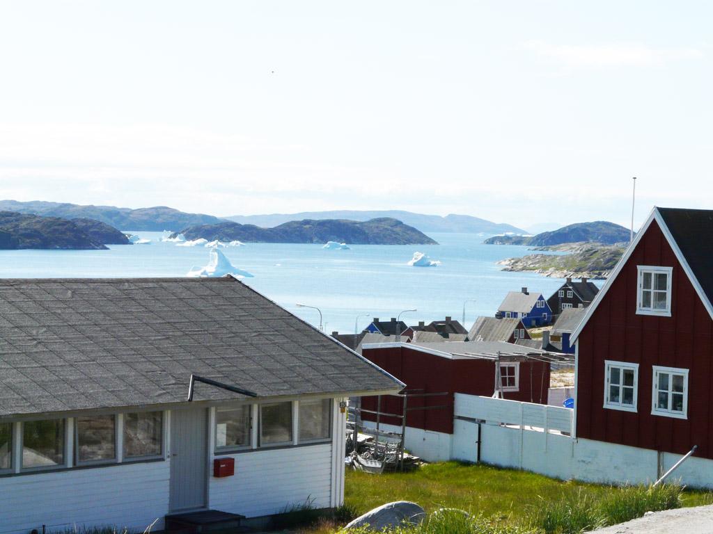 a view from the church toward Disko Bay