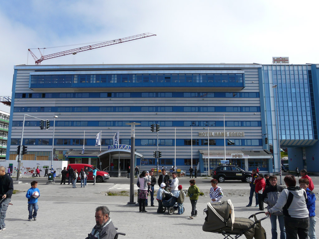 bustling downtown Nuuk, with one of Greenland's two traffic lights