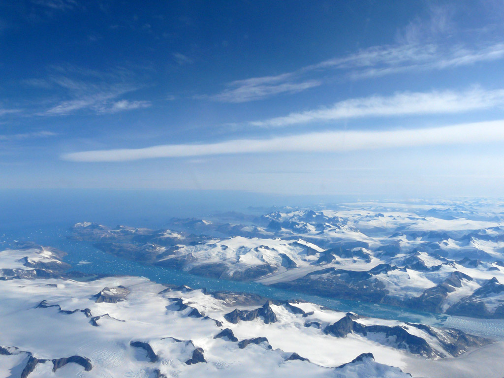 South Greenland from the air, all rock and ice once you get more than a few miles inland from the coast