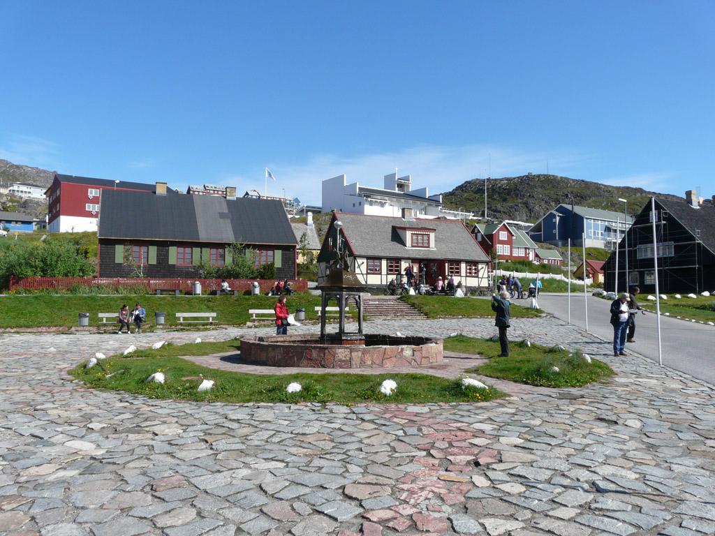 Qaqortoq town square, the only fountain in Greenland