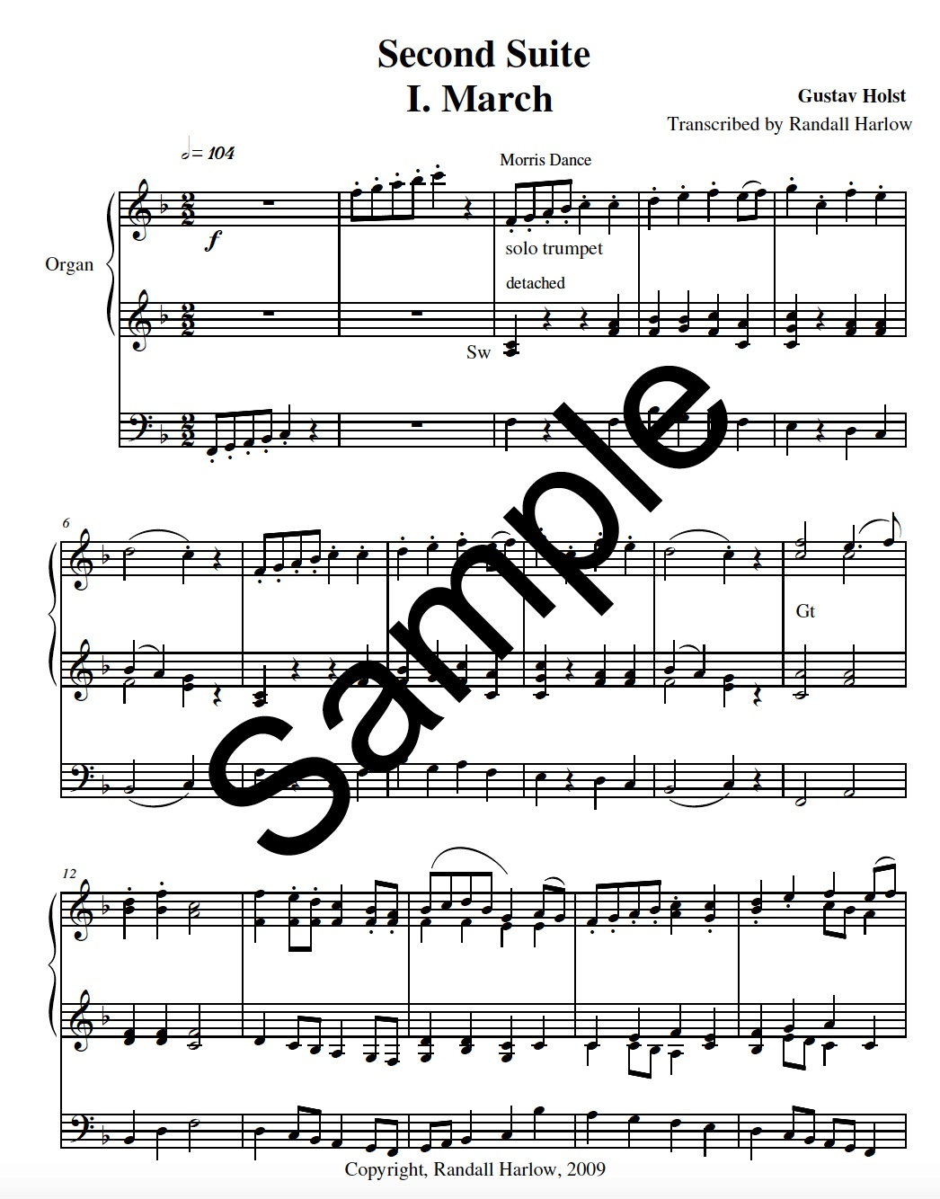 Holst Suite transcribed for organ.March