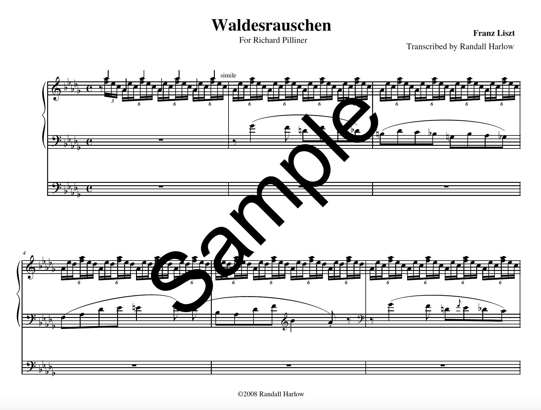 Liszt Waldesrauschen transcribed for organ