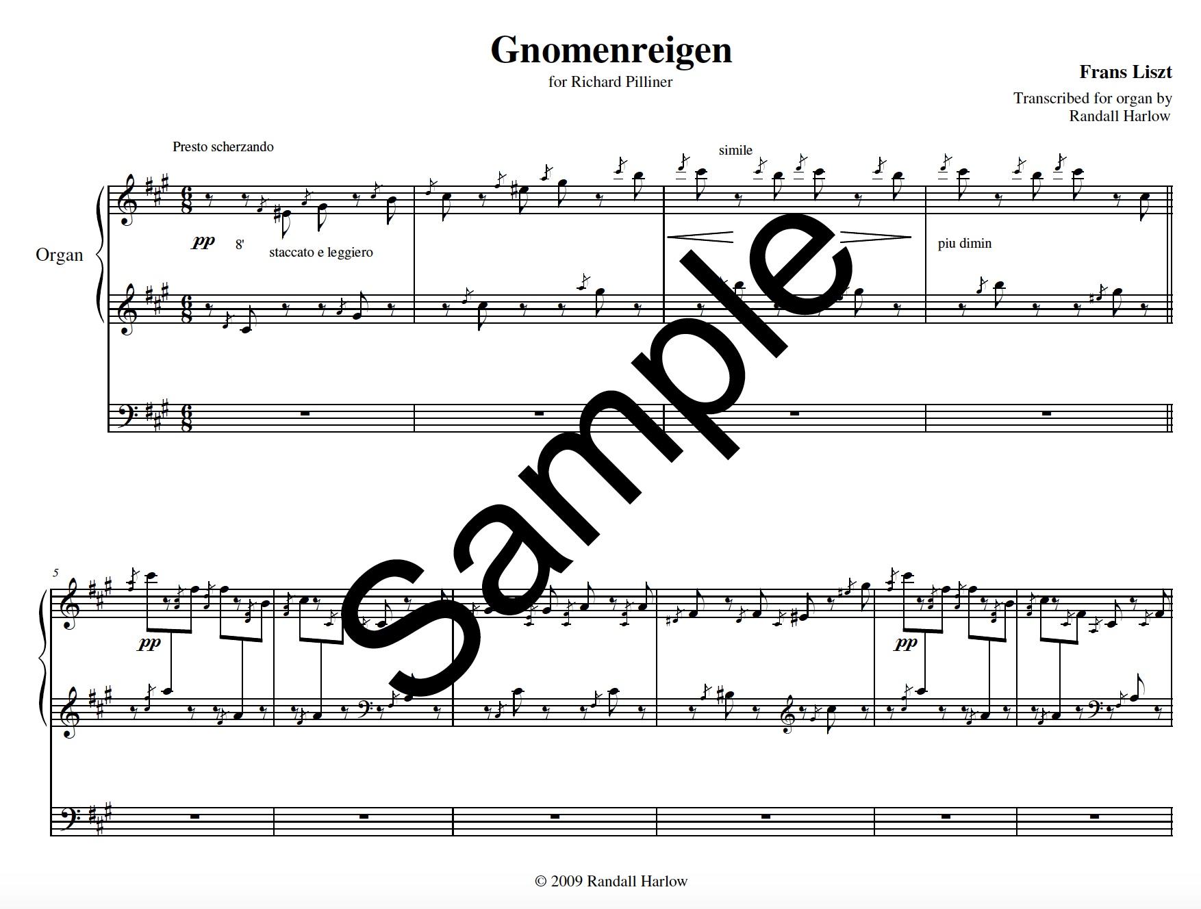 Liszt Gnomenreigen transcribed for organ