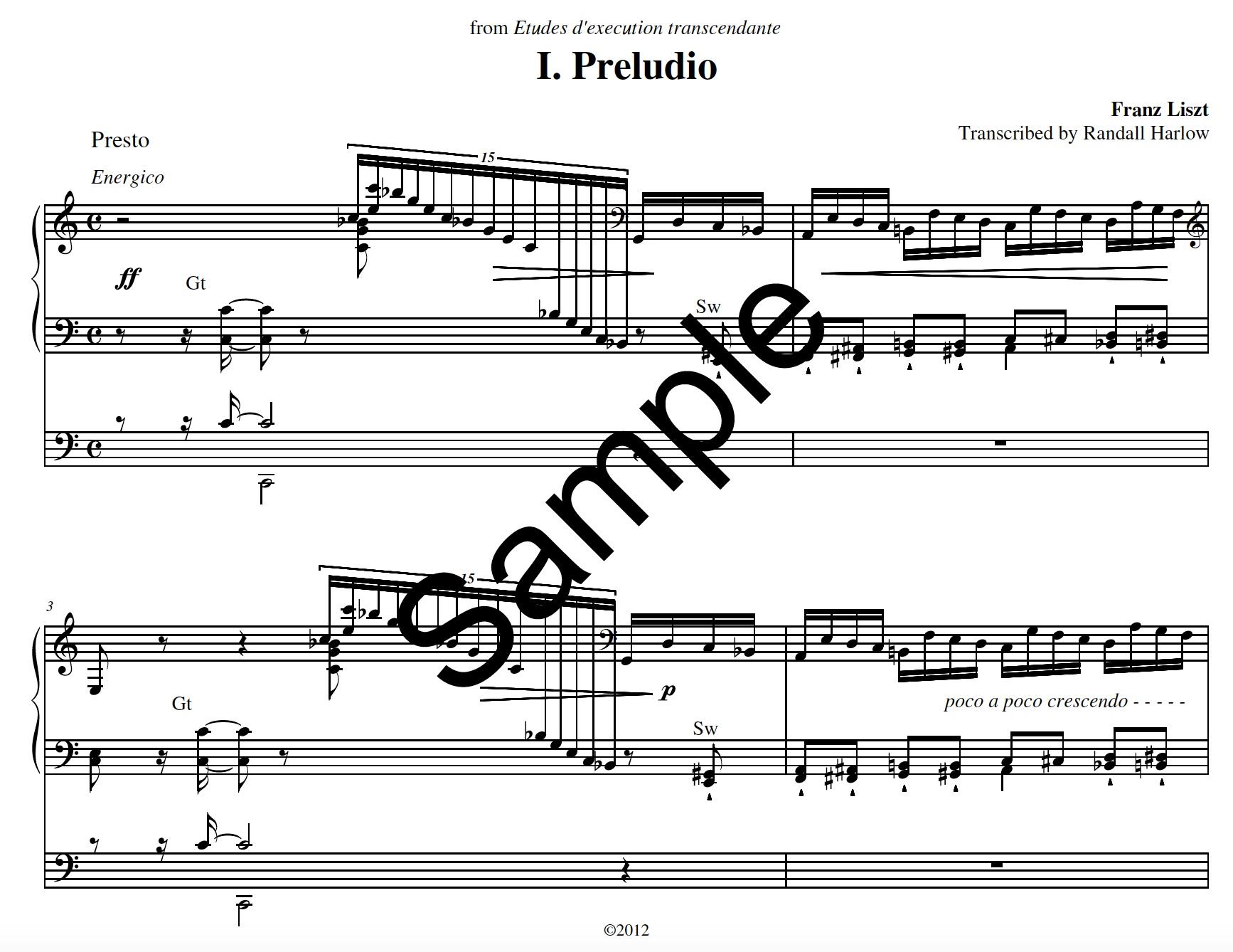 Liszt Transcendental Etudes Preludio transcribed for organ