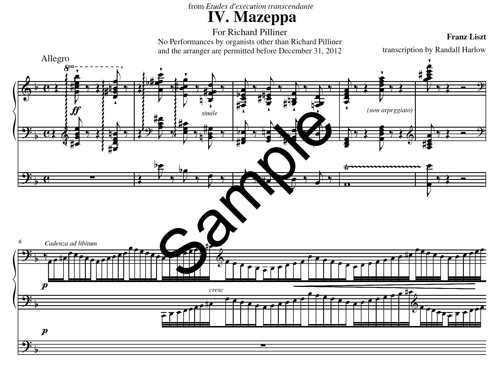 Liszt Transcendental Etudes Mazeppa transcribed for organ