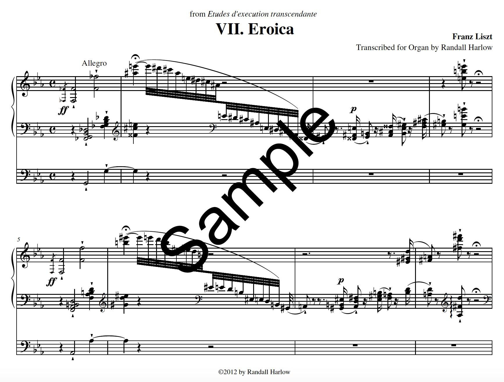 Liszt Transcendental Etudes Eroica transcribed for organ