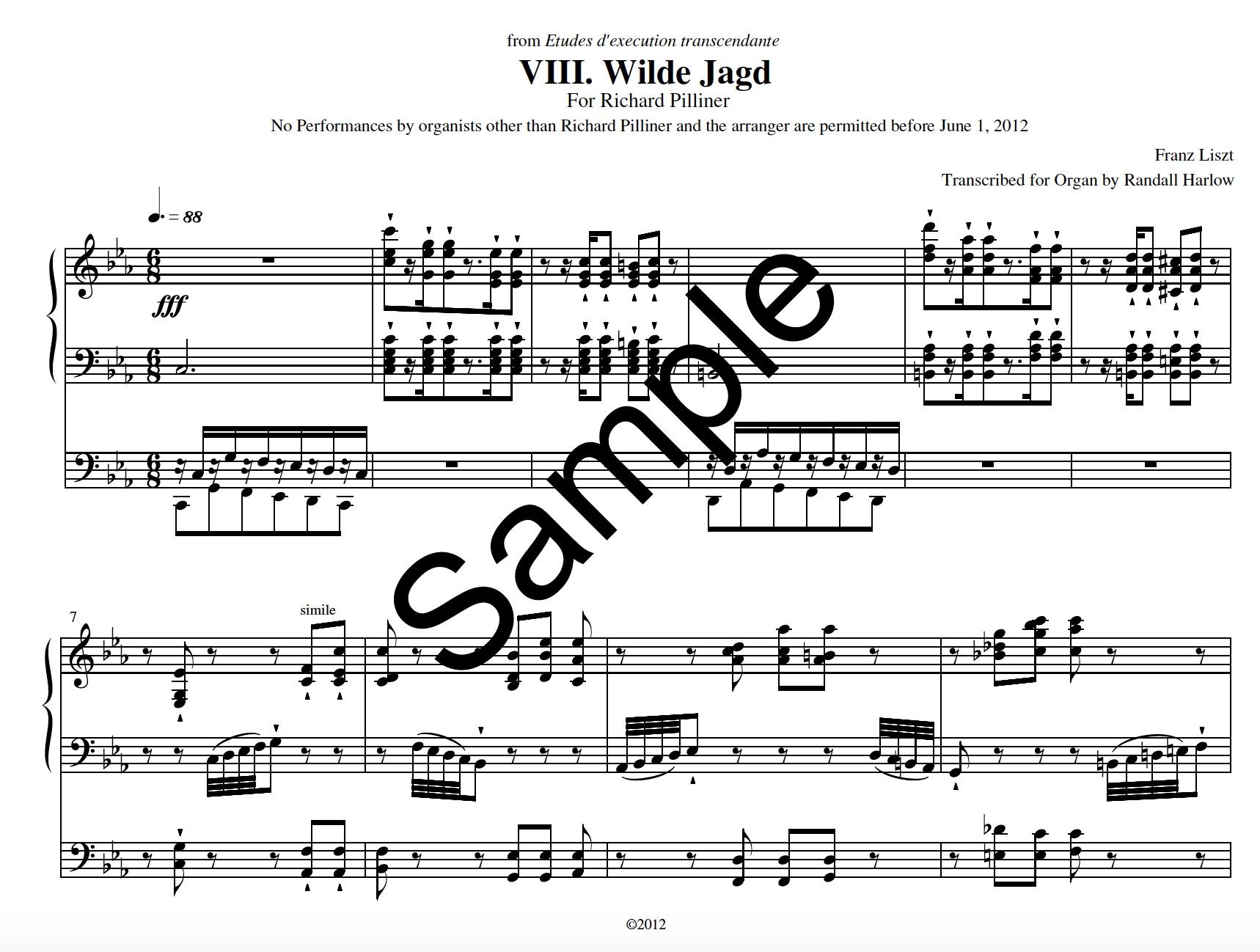 Liszt Transcendental Etudes Wilde Jagd transcribed for organ