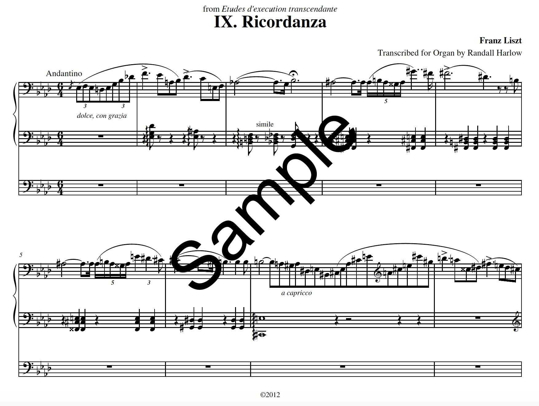 Liszt Transcendental Etudes Ricordanza transcribed for organ