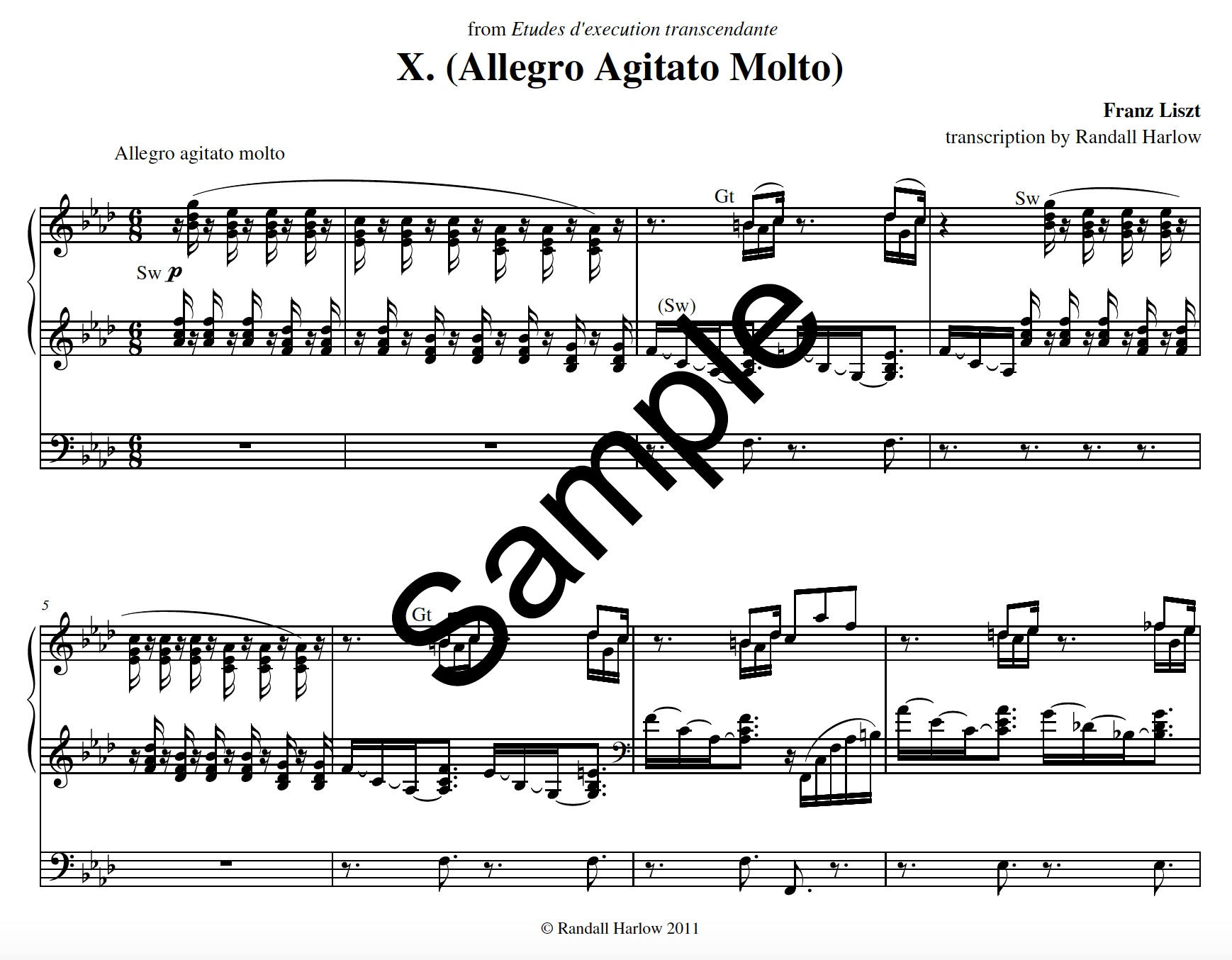 Liszt Transcendental Etudes Allegro Agitato transcribed for organ