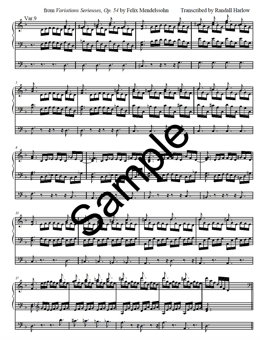 Mendelssohn Variations Serieuses  transcribed for organ