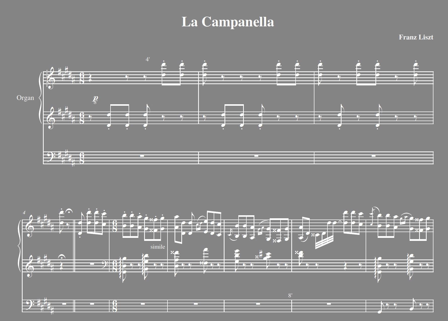 Liszt la campanella for organ