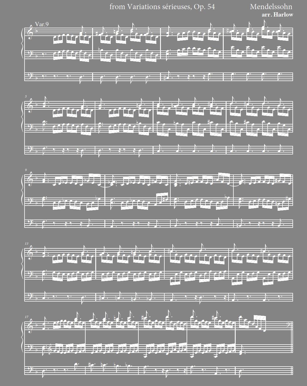 Mendelssohn Variations Serieuses for organ