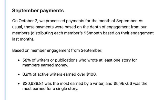 Can we take a moment to seriously think about what's happening right now in the writing industry? Medium payed out ONE writer $30k! All this writer needed to do was sign up for a free Medium account. Another writer made almost $6,000 off of one article. Let's assume this was a robust article that took a long time to write and go overboard, estimating this article took 40 hours to write (a regular work week). That's a $150/hour rate. It's the Wild West of the Medium world and I'm beyond excited to be a part of this writing revolution 😍✍🏼📈