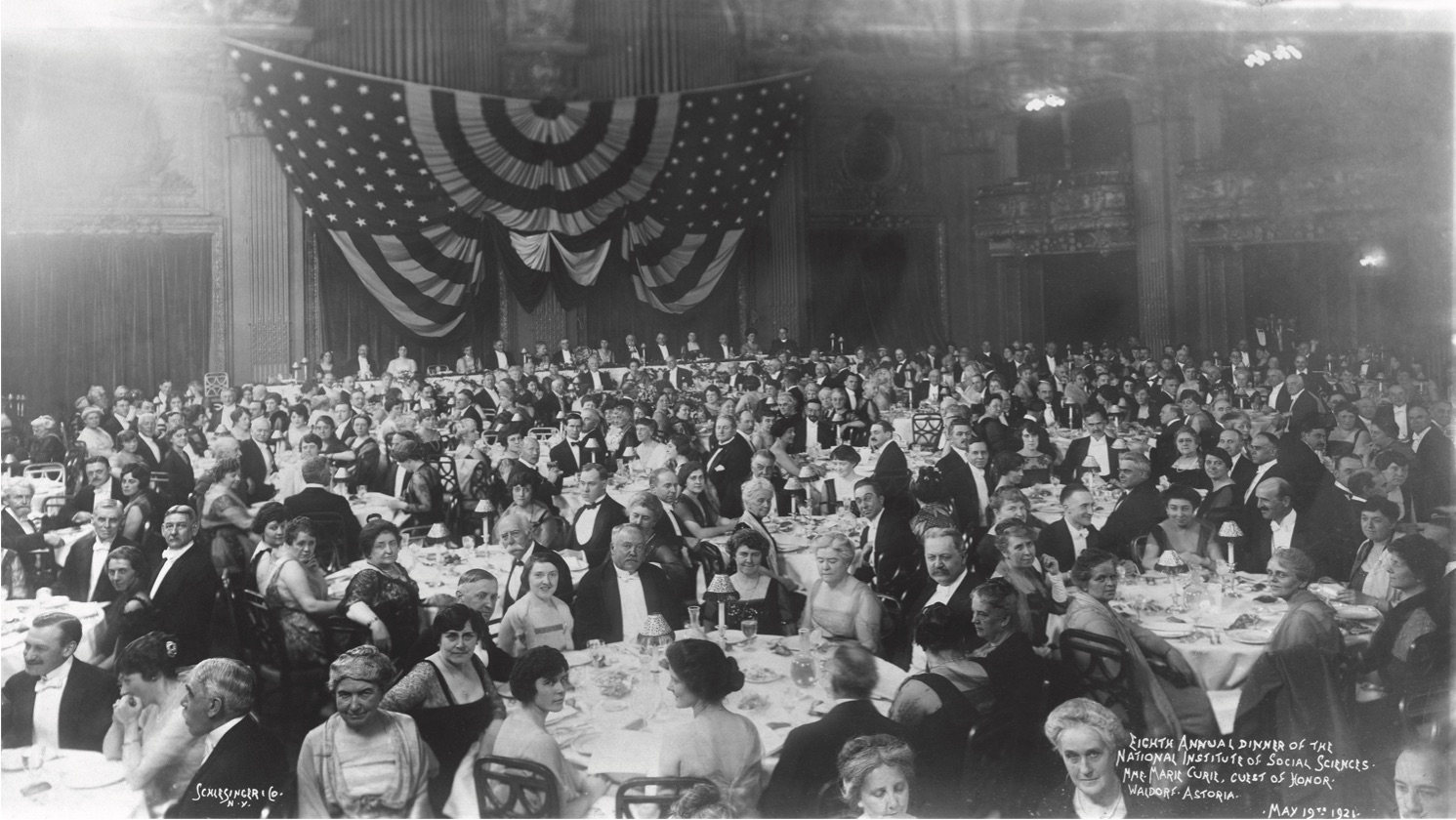The 1921 Gold Medal Dinner honored Charles Frederick Chandler, Calvin Coolidge, Marie Curie, and Cleveland H. Dodge.