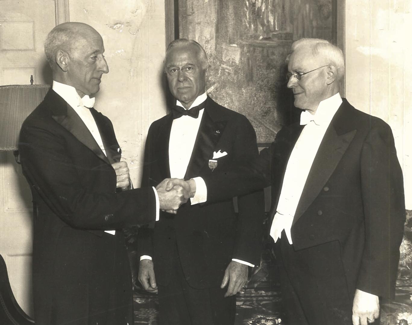 C. Stuart Gager, past president, H.H. Clarke, treasurer, and Henry Fletcher, president, in 1935.