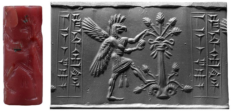 Griffin-demon tearing branch from a tree (between 1200 B.C. and 1050 B.C.) Morgan Seal 609. Morgan Library & Museum.