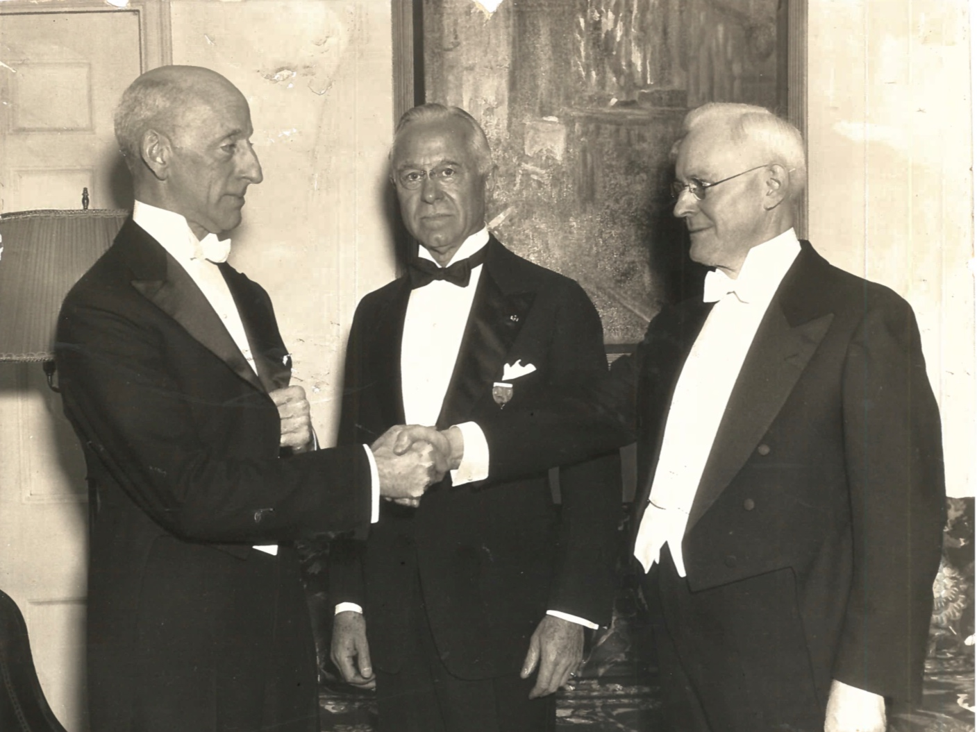 Stuart Gage, past NISS president; H.H. Clarke, NISS treasurer; and Henry Fletcher, NISS president, in 1935. One of the many photographs donated by the National Institute to the Yale University Archives.