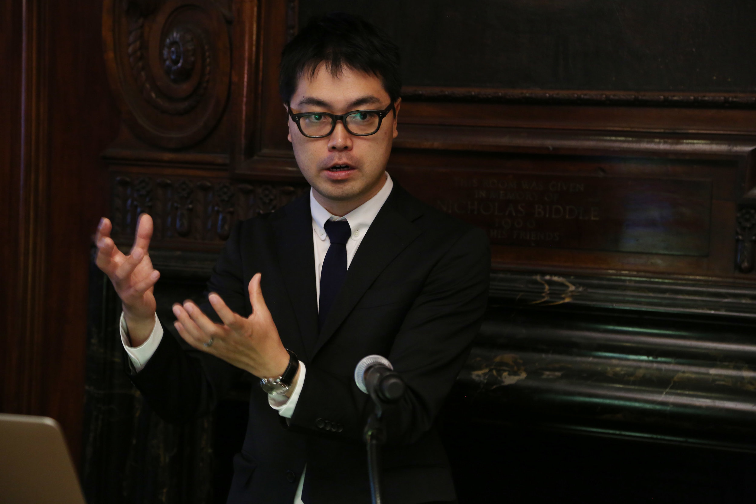 Hirokazu Shirado addresses guests at the National Institute's 2017 New York City Discussion Luncheon