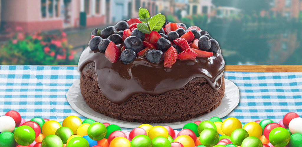 Make Cake!  Make & bake cakes. Design the shape & decorate with candies, chocolate & fruits!