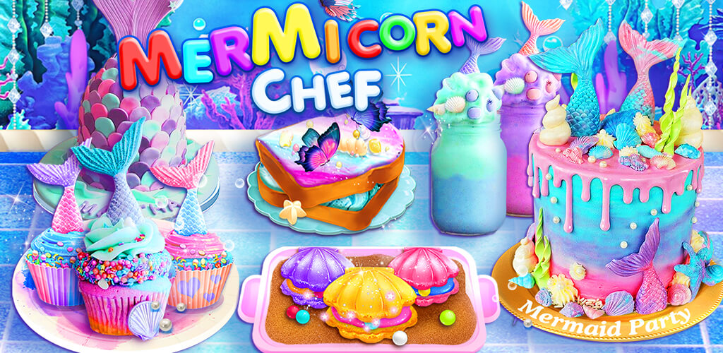 Unicorn Chef: Mermaid Cooking Games for Girls - Mermaid Cooking & Food Maker Games for Girls! Cake, Ice Cream, Popcorn and more!