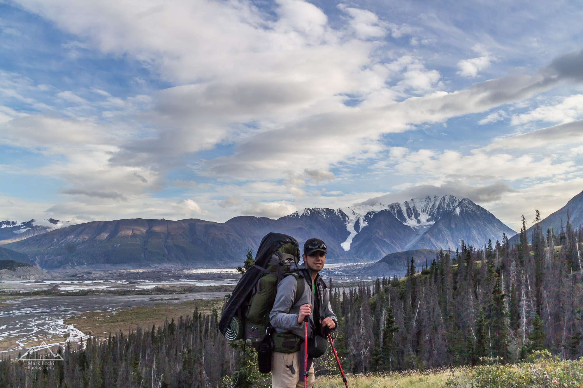 Carrying a big pack hiking the Slims River Trail in Kluane National Park