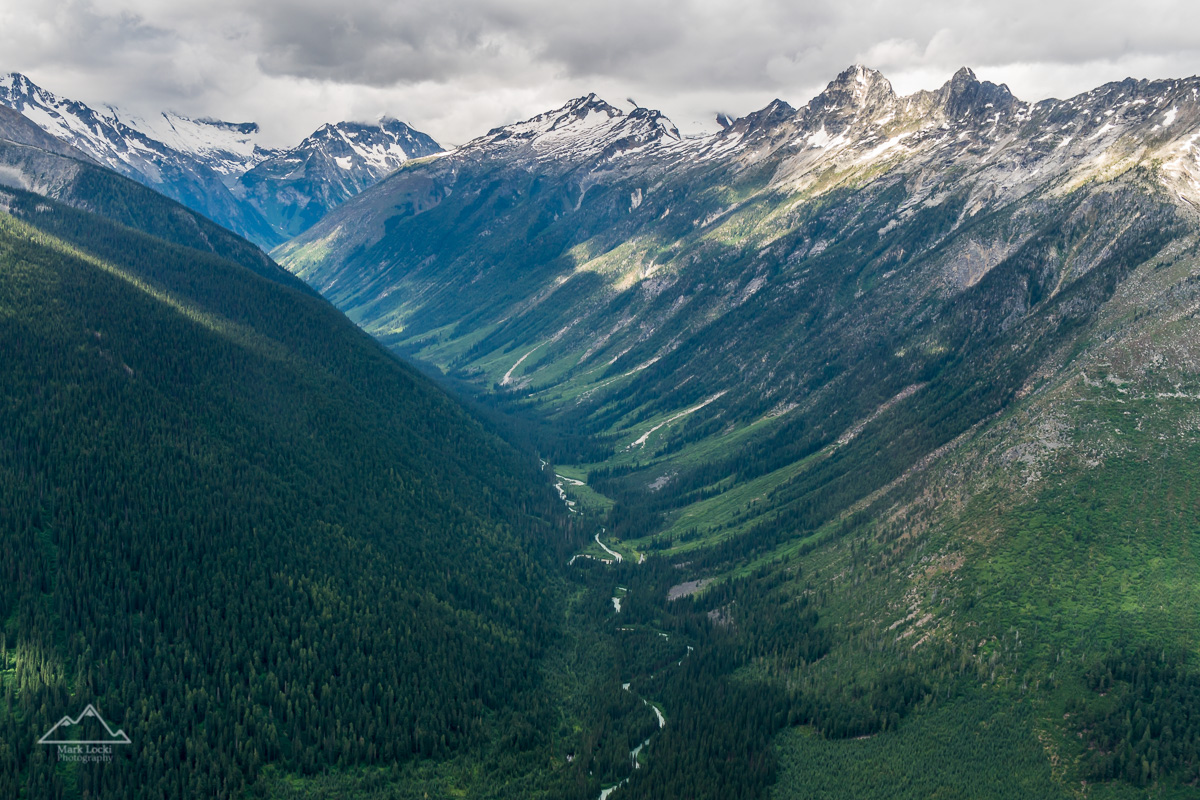 In Late July I took a week long mountaineering trip to the Iron Glacier in the Battle Range. Here's a quick shot from the helicopter ride in looking down the Duncan River.