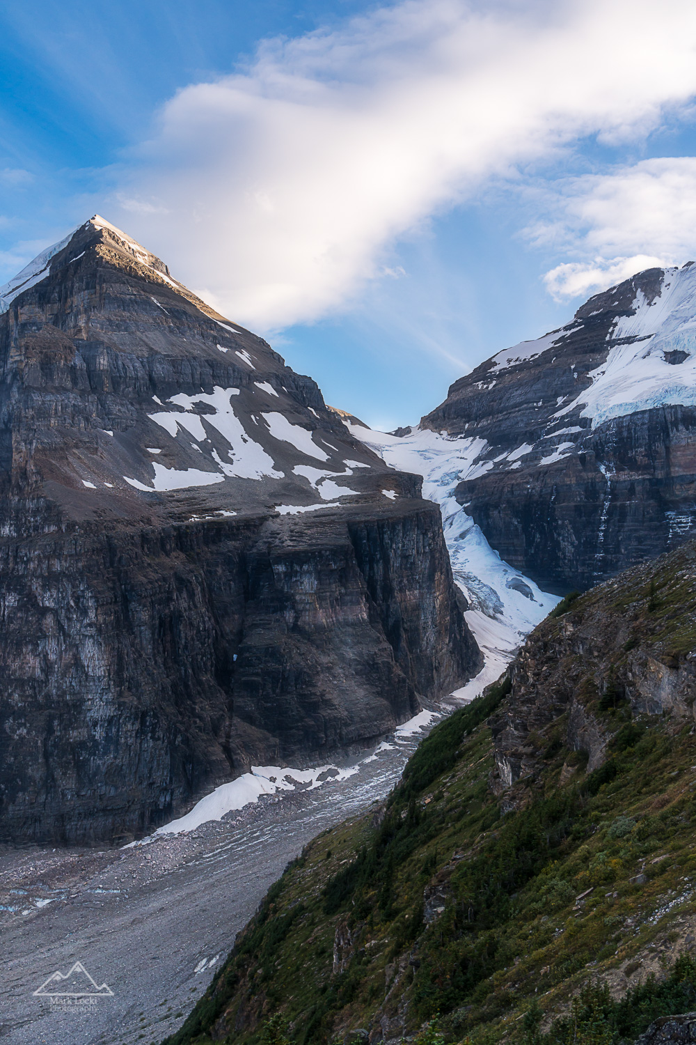 The Death Trap: Above the Plain of the Six Glaciers Trail in Lake Louise area the Death Trap comes into view. This treacherous route to Abbott Pass is rarely used anymore, as most mountaineers find the objective hazard just a bit too high. It sure makes a pretty picture though!