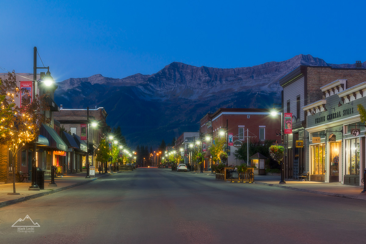 Fernie's 2nd Avenue, with Fernie Alpine Resort looming in the background