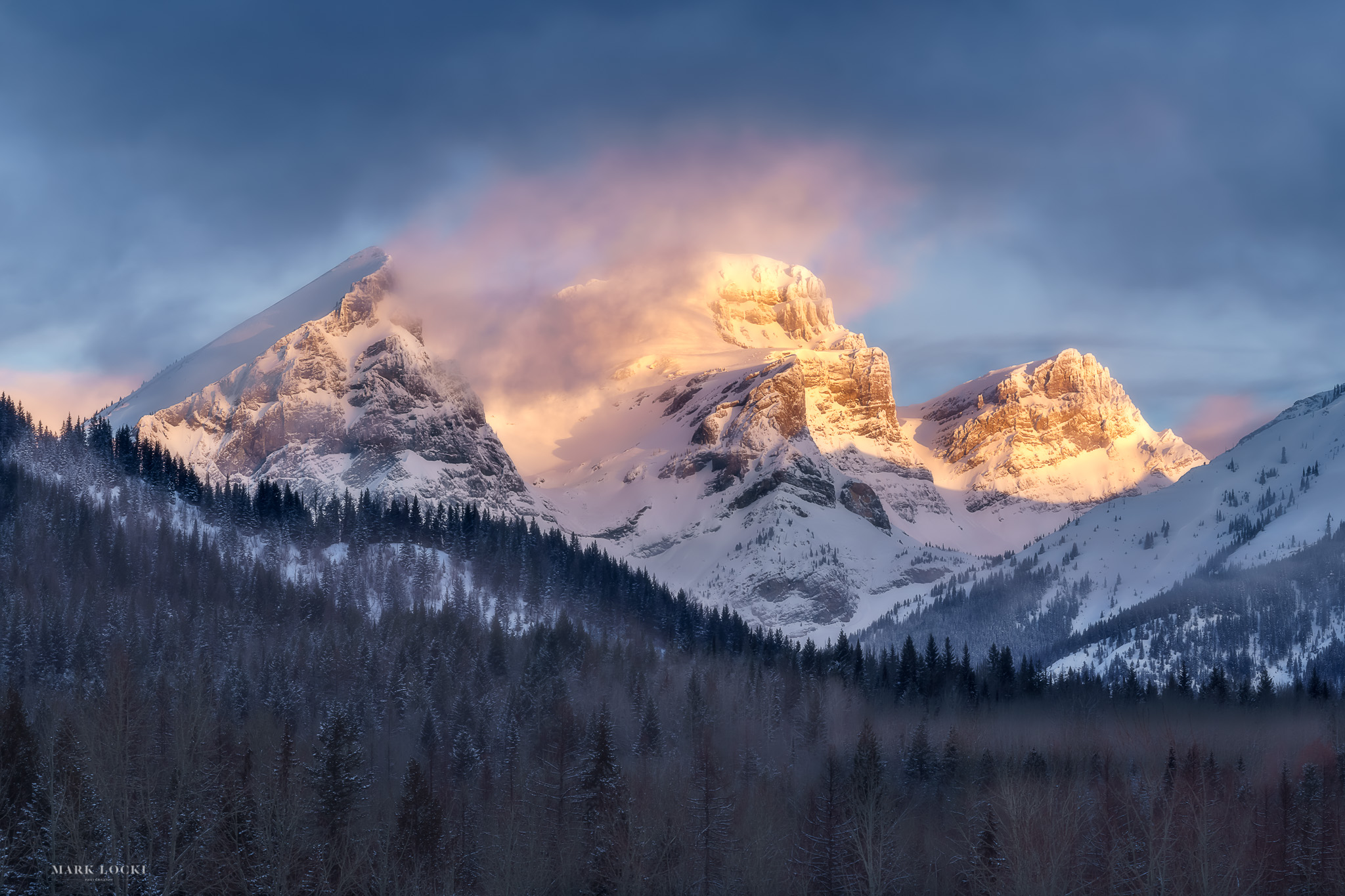 Three Sisters Winter - Part four of the Three Sisters Series. 20 Tri-panel canvas prints available