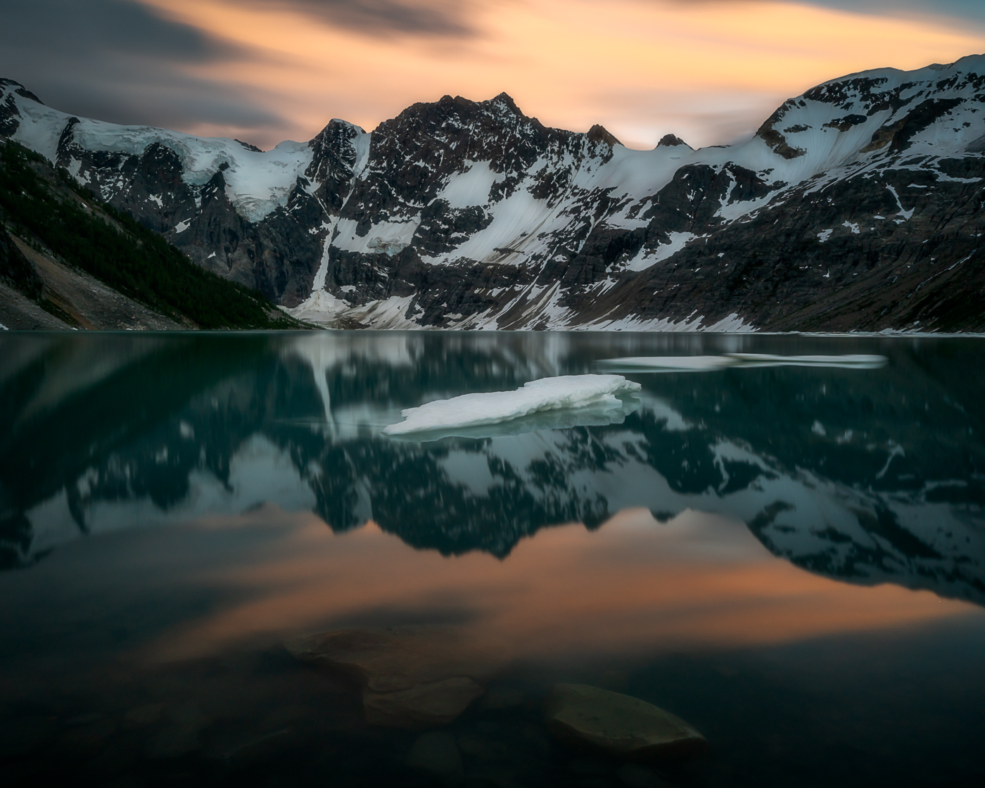 Lake of the Hanging Glacier Sunset - Purcell Mountains, BC