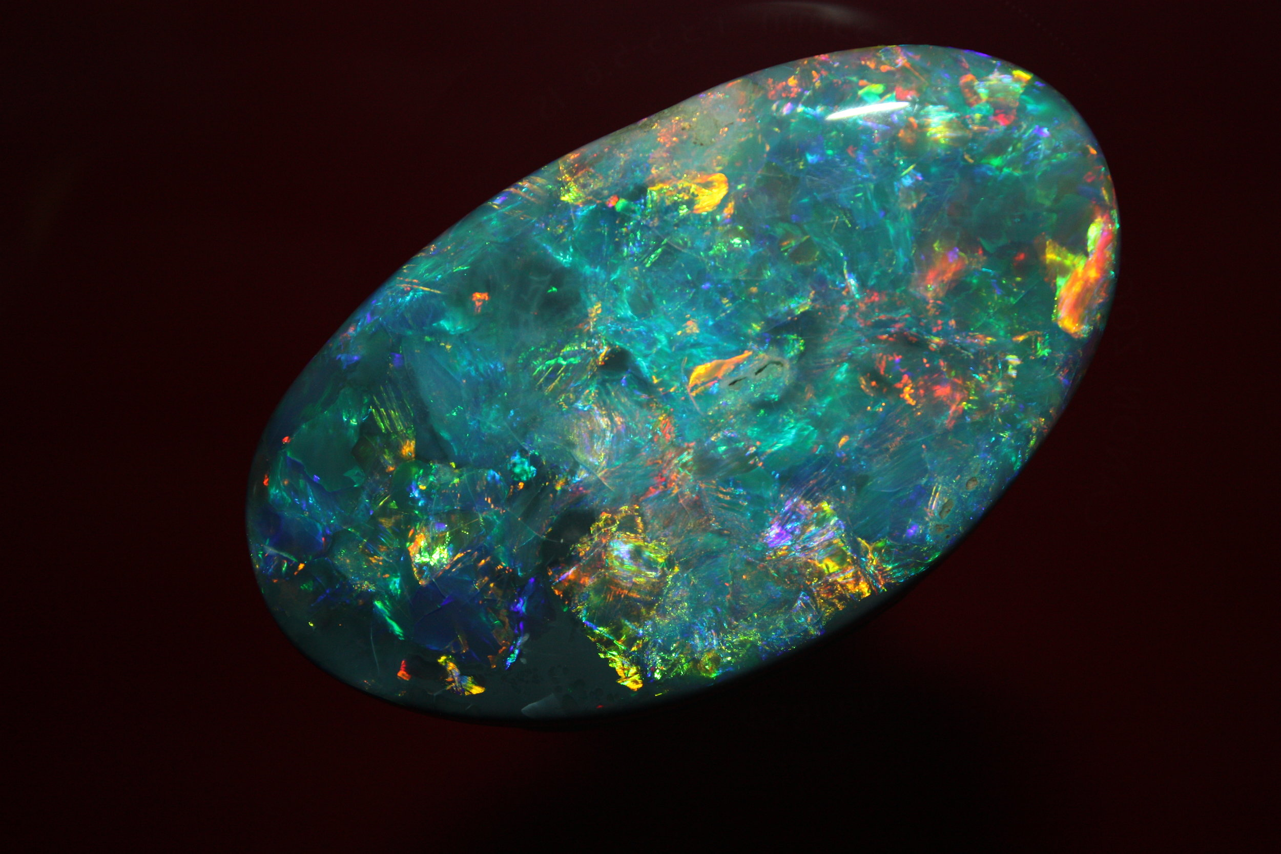 A smallish but very lovely piece of black opal from the opalfields of Lightning Ridge New South Wales Australia