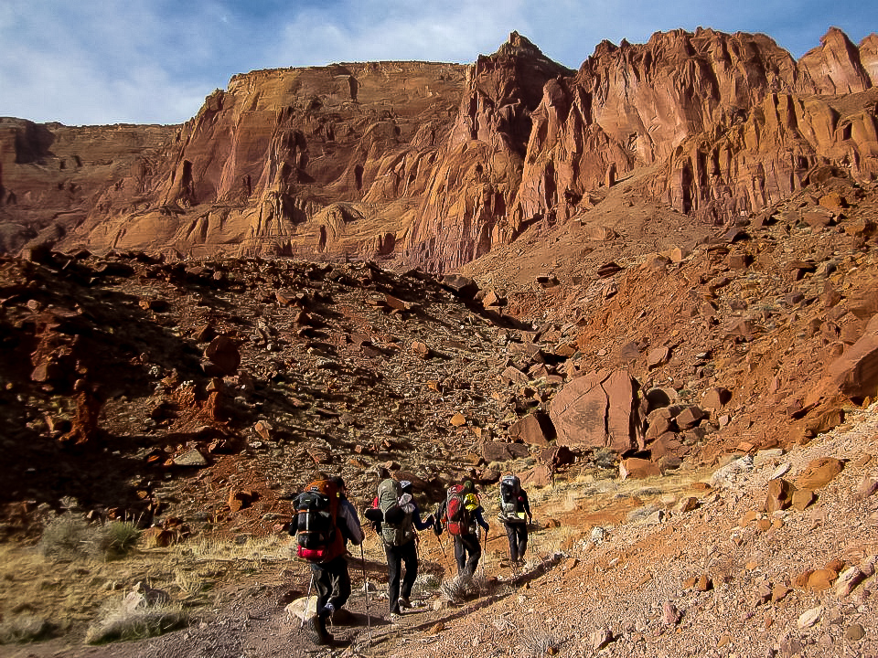 A rare glimpse of me leading the pack at Buckskin Gulch // Photo Cred: J. J. Orlando