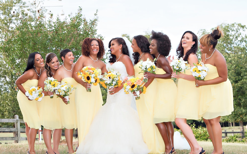 4 of the bridesmaids and the bride were completed by Yanneek Brinson Beauty