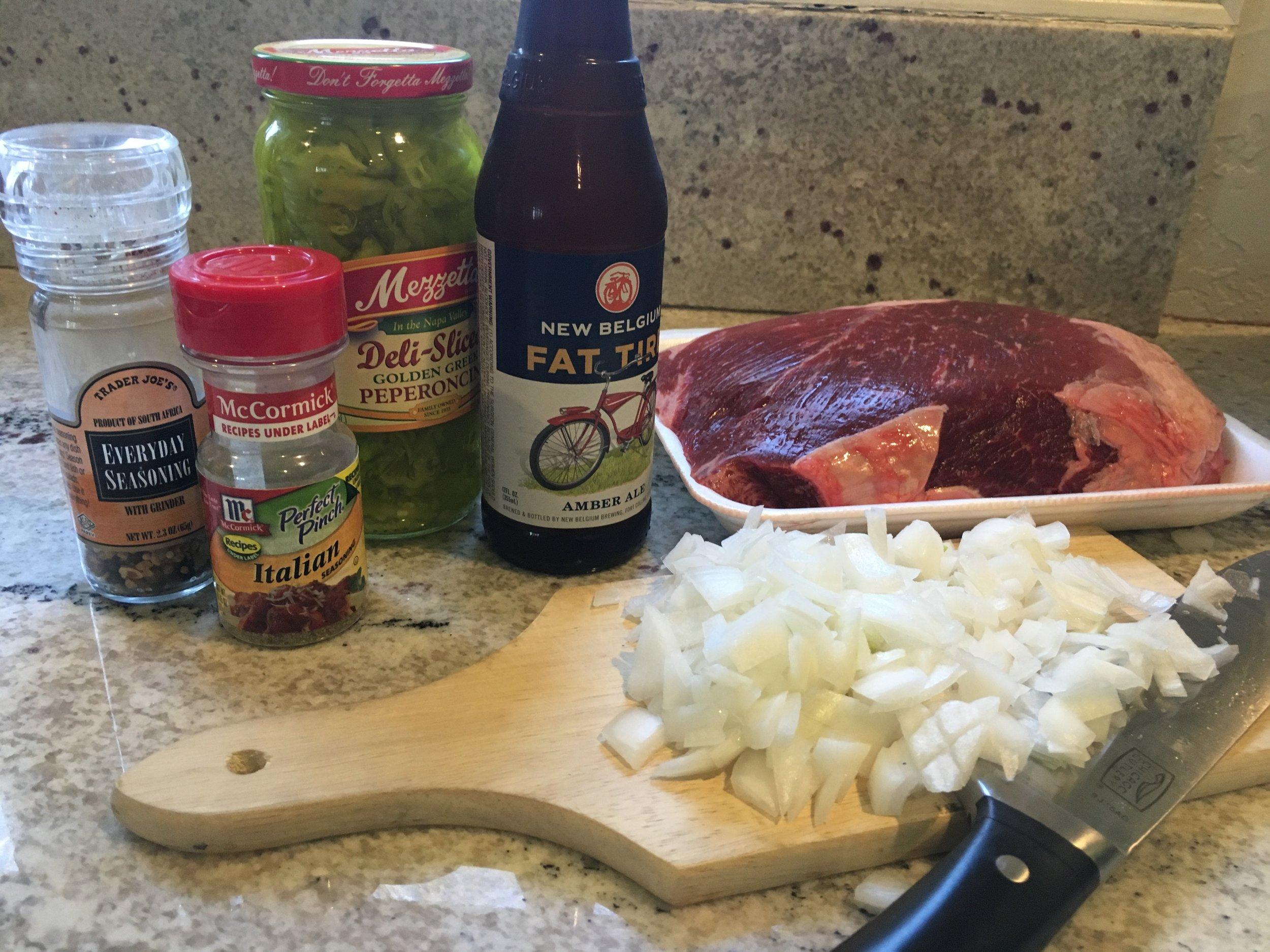 Ingredients for Slow-Cooker Italian Beef