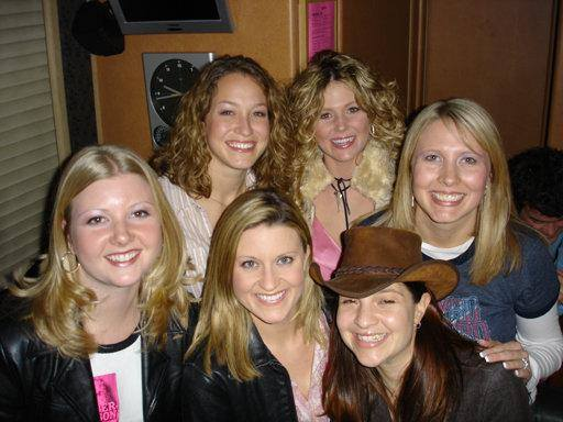 A group shot from our 1st neighborhood group of girls!  This was backstage at a George Strait, Dierks Bentley and Amber Dotson concert. Amber, pictured in the back right, was also our neighbor and she opened for George Strait's tour that year.  (Picture 2004).