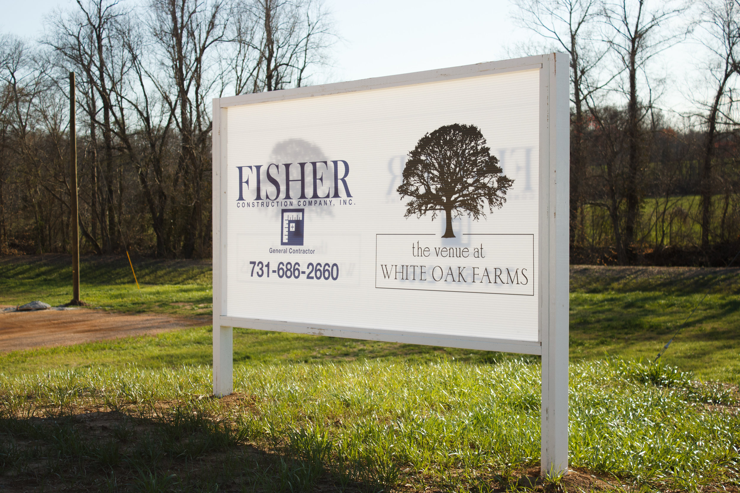 Official construction sign for The Venue at White Oak Farms and Fisher Construction