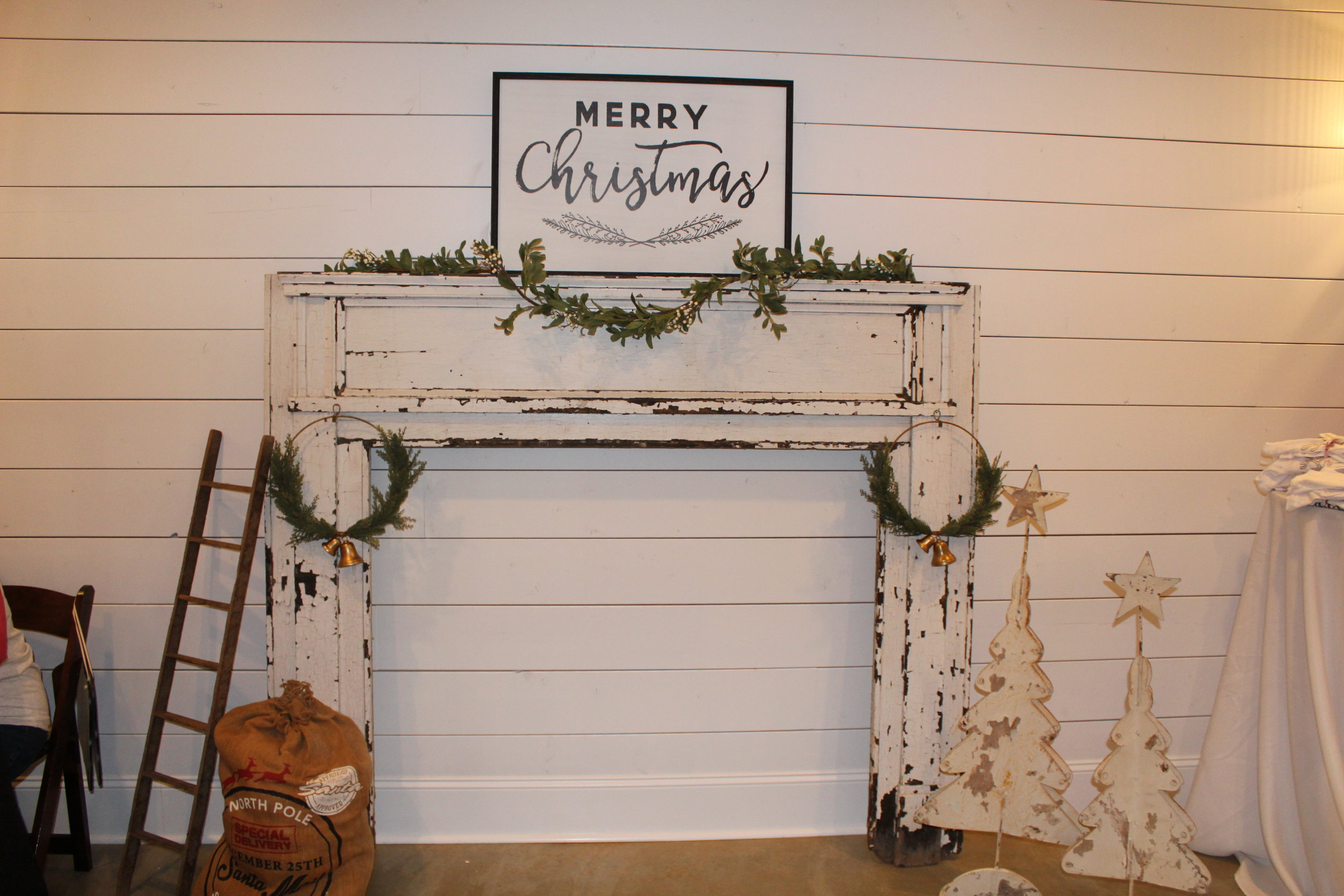 Farmhouse Christmas Decor and Antique Mantle