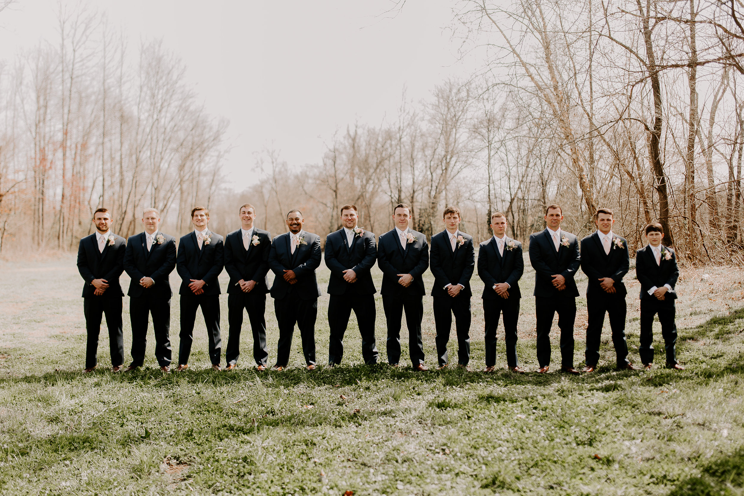 Groom and his groomsmen Tennessee spring wedding