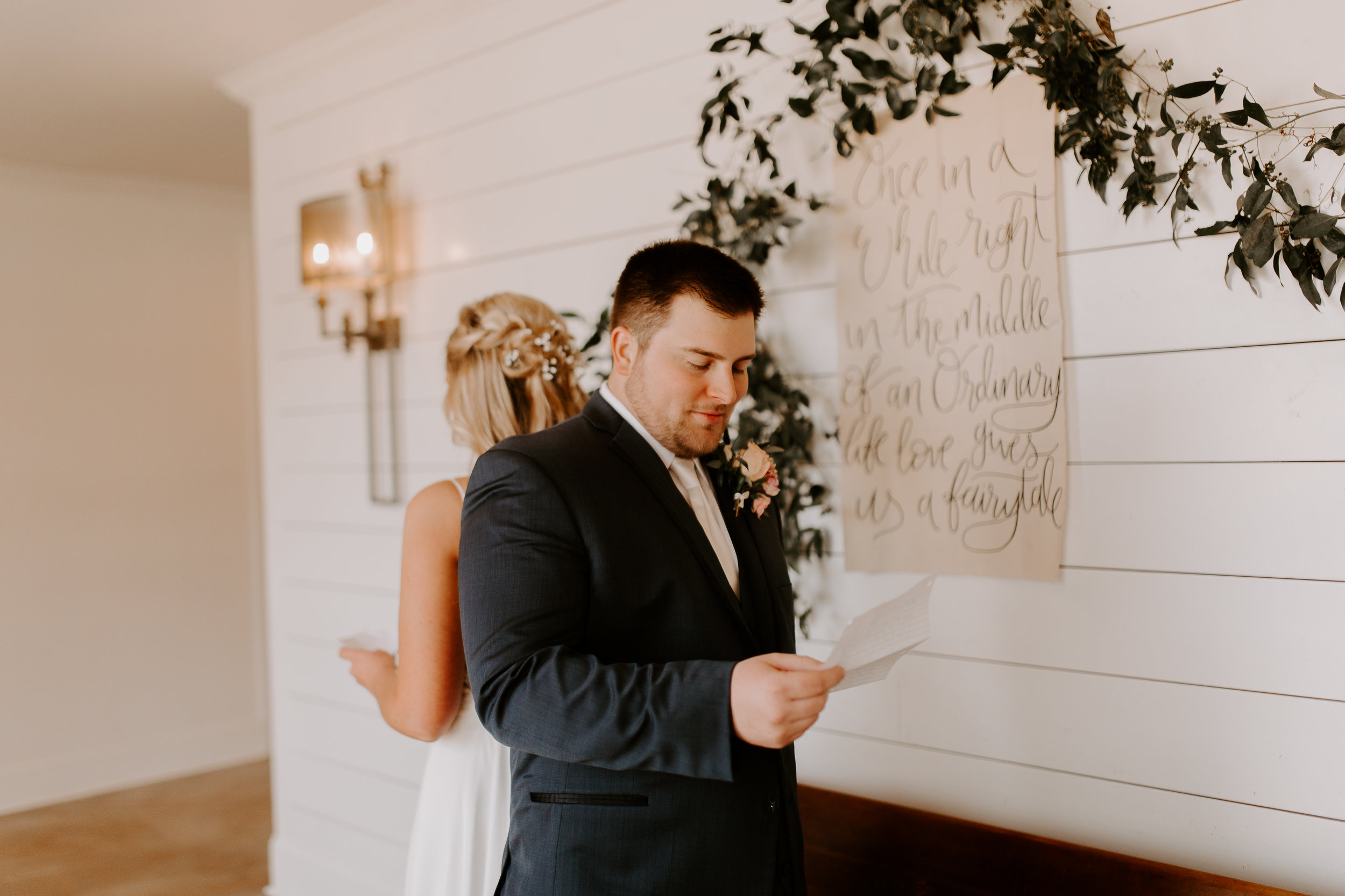 Bride and Groom Reading Letters