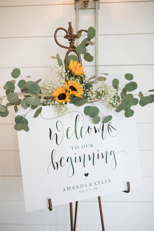 Wedding Welcome Sign with sunflowers