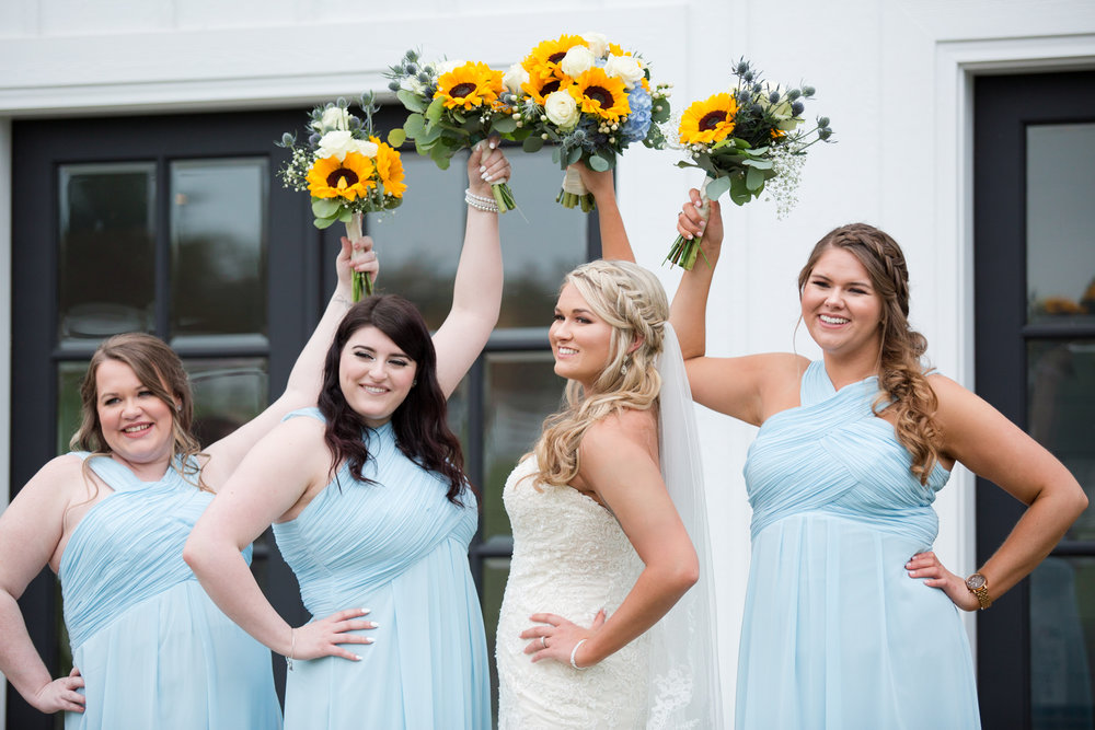Sunflower Bouquet Blue Bridesmaids Dress